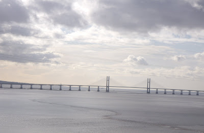 The closed Severn Bridge into Wales