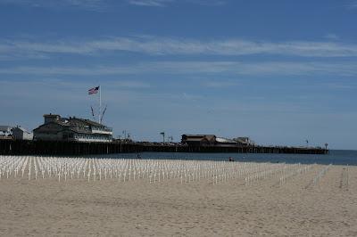 Arlington West crosses at Stearns Wharf in Santa Barbara