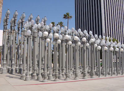 Iconic Urban Light sculpture by Chris Burden outside LACMA