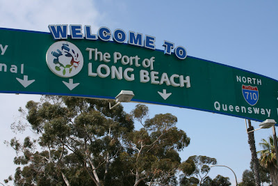 Long Beach port welcome sign