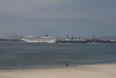 Ocean liners at Long Beach seaport