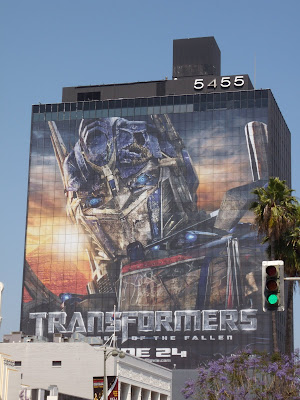 Optimus Prime Transformers Revenge of the Fallen movie building billboard