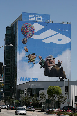 Disney Pixar's UP movie building billboard on Sunset Blvd