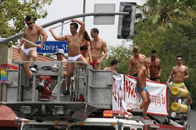 West Hollywood firetruck go-go boys at Pride Parade 09