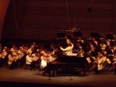Pianist Vladmir Feltsman and conductor Kirill Karabits on stage at Hollywood Bowl