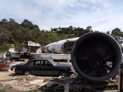 War of the Worlds plane crash film set
