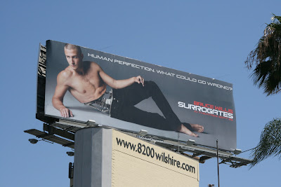 Surrogates movie hot male model billboard