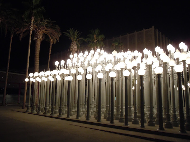Urban Light LACMA at night