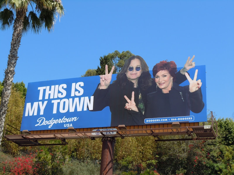 Ozzy and Sharon Osbourne Dodgertown billboard