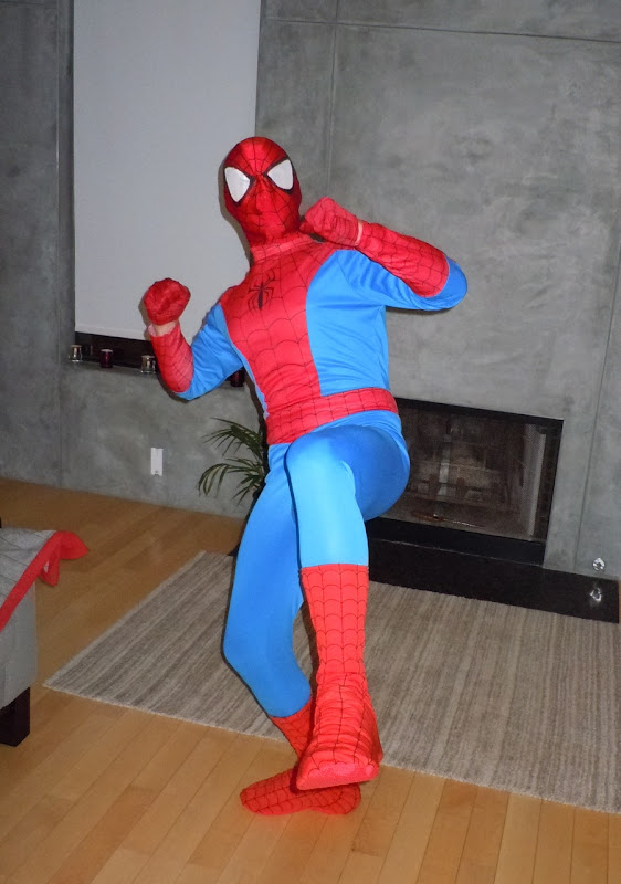 Spider-man Jason practices his moves