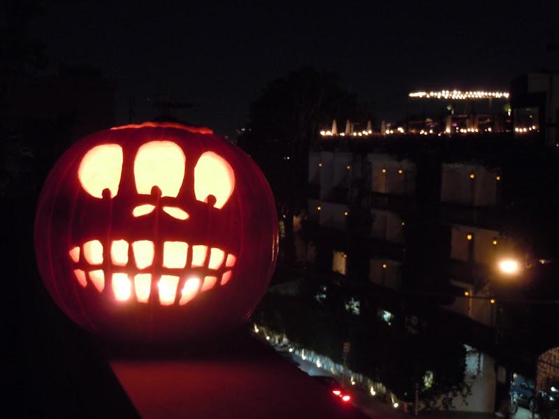 WEHO rooftop spooky Halloween pumkpin