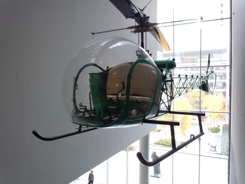 Hanging green helicopter MoMA