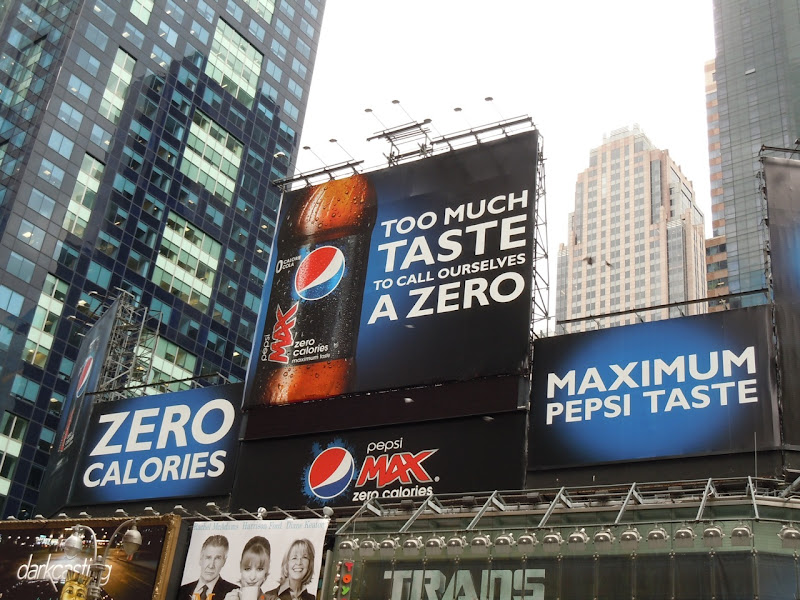 Pepsi Max zero calories NYC billboards