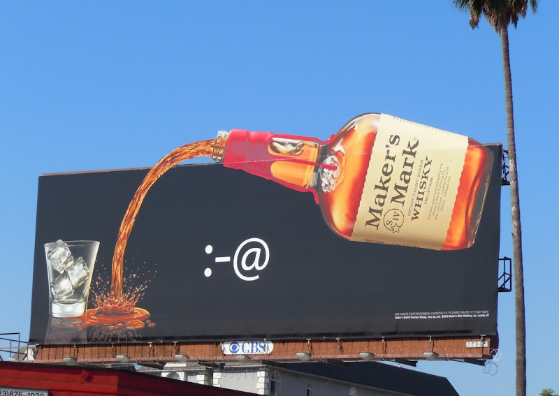 Maker's Mark pouring whisky bottle billboard