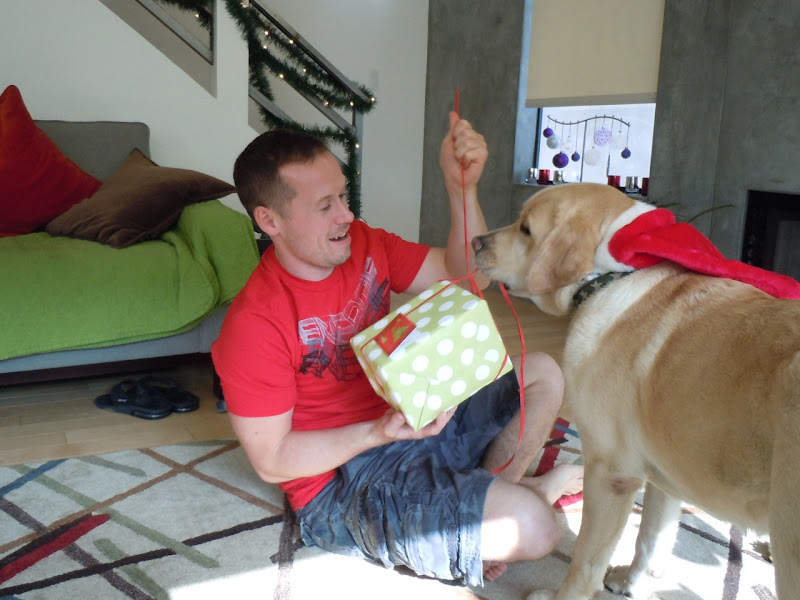 Unwrapping presents with Cooper