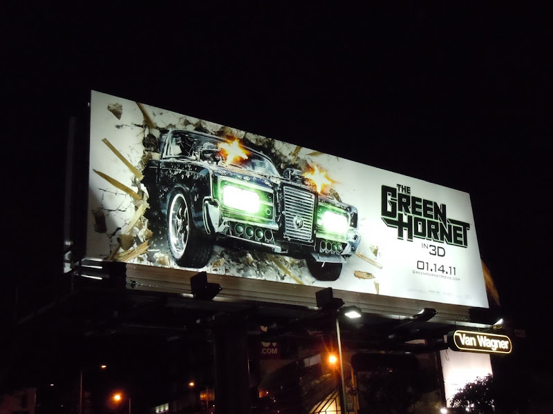 Green Hornet billboard by night