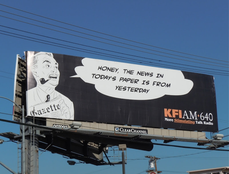 KFI AM Yesterday's news billboard