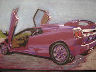i used a purple-pinkish toned paper for a purple lambo mediums include oil pastel, marker, ink,