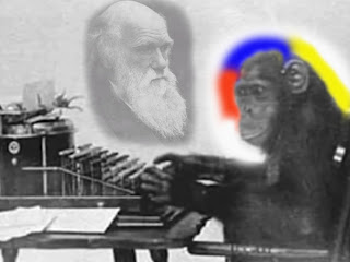 chimpanzee, monkey on typewriter dreaming of Charles Darwin