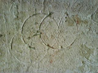 Apotropaic marks, Tithe Barn, Bradford on Avon, England