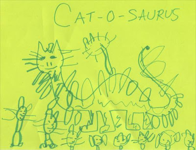 Three year old's attempt at art, a cat-o-saurus.