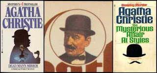 Covers from Agatha Christie novels featuring Hercule Poirot