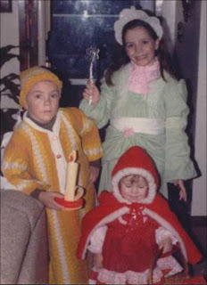 Wee Willie Winkie, Red Ridinghood and a Fairy Princess on Halloween, 1986.