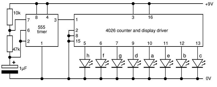 electronica  8 leds