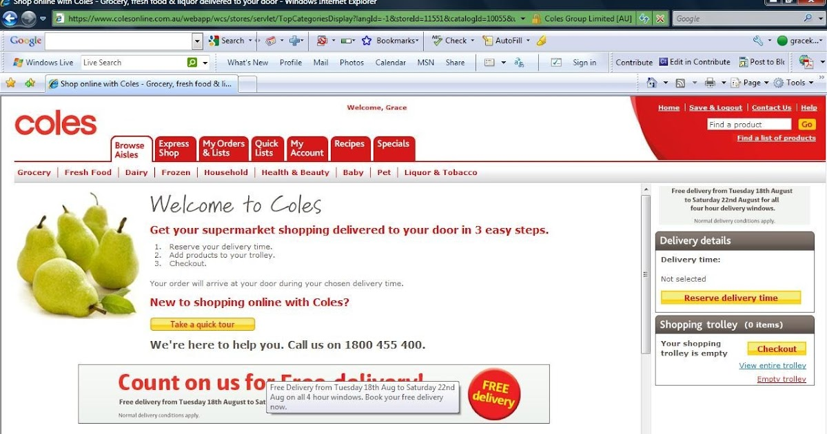 how to pay for coles online shopping