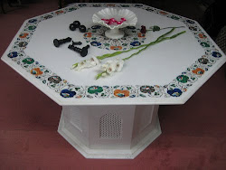 White Marble Inlay Dining Table Tops