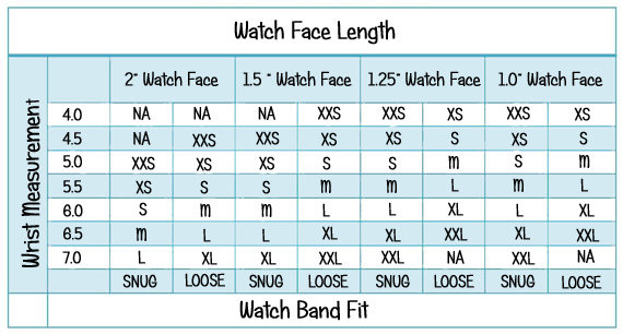 interchangeable beaded watch band and solid ribbon bar watch face sizing chart