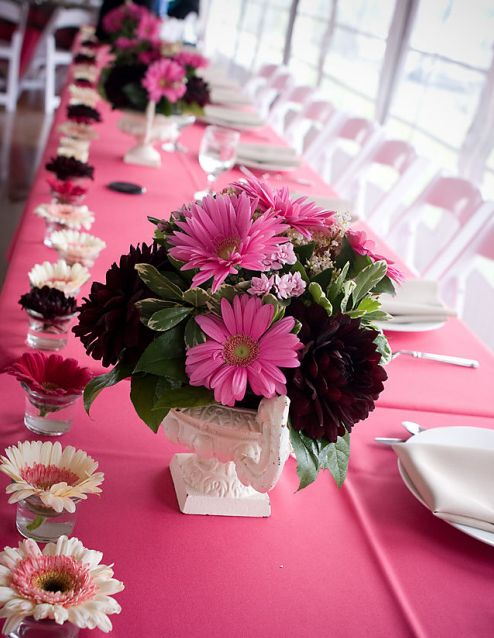Pink and black wedding centerpieces decorations