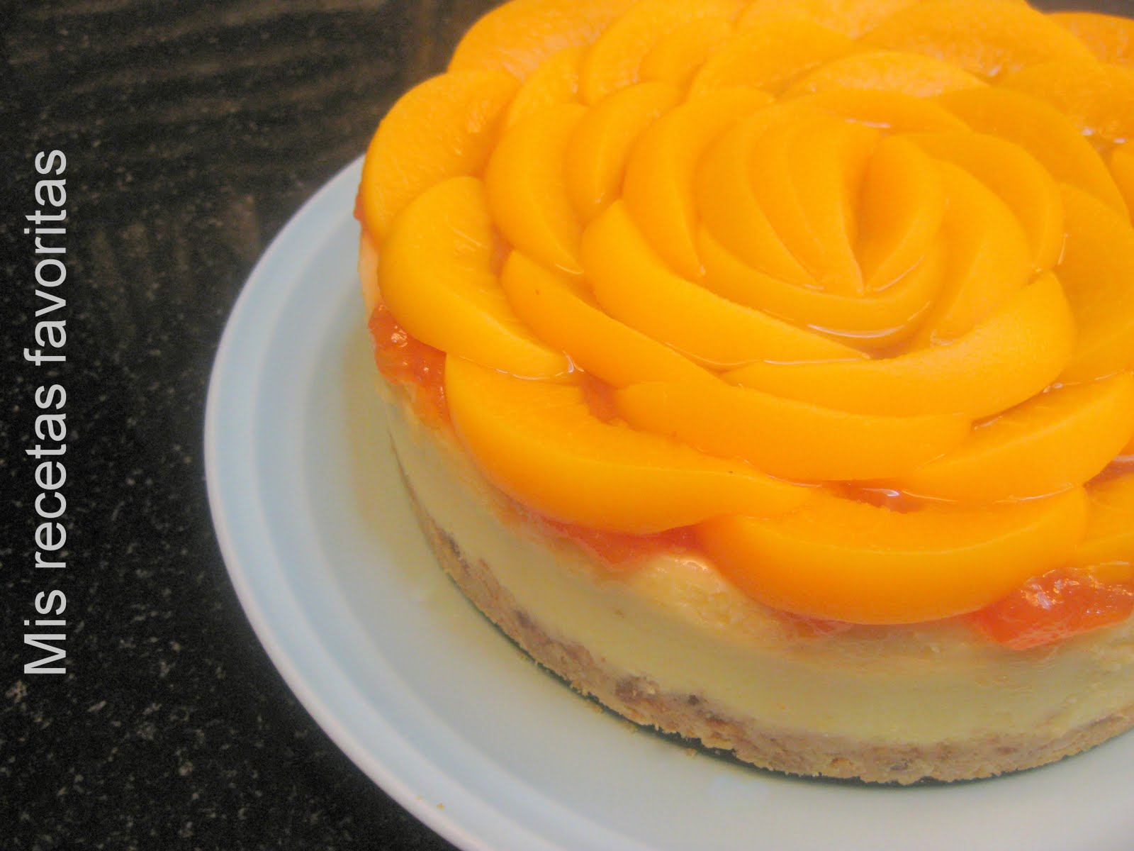 Baño Para Torta Sencillo: recetas favoritas: Cheesecake cremoso de mascarpone con melocotones