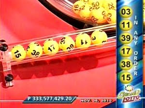 mega lotto result winning number november 19, 2010