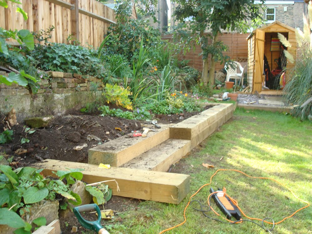 Do or diy garden landscaping with railway sleepers for Domestic garden ideas