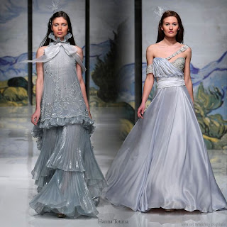 silver-colored gowns