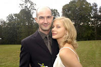 Kirsten Johnson and her husband pose on their wedding day