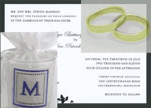 wedding invitation with two wedding bands and a candle with a blue monogram
