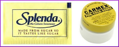 Splenda packet and Carmex container