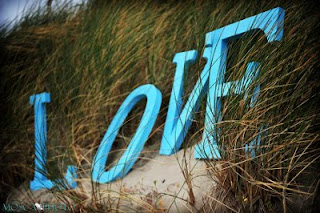 Individual blue letters on the beach against the grass spell LOVE