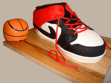 large Nike sneaker and small basketball