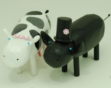 Cow and bull as bride and groom