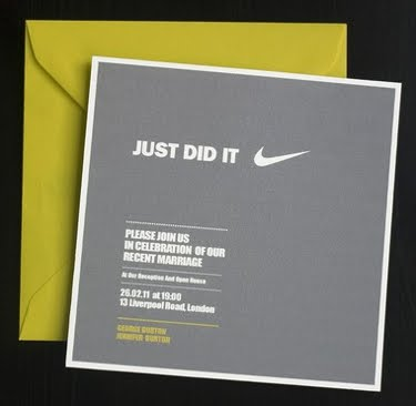 Grey wedding reception invitation that says Just Did It with a Nike swoosh