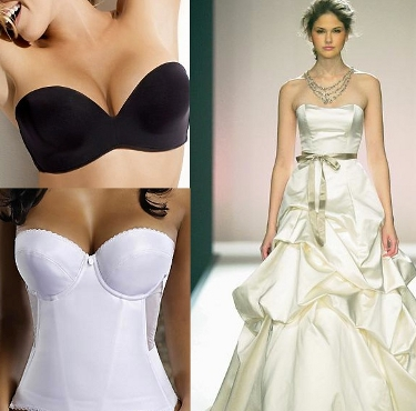 Bride Dress on Black Strapless Bra   White Bustier And A Strapless Dress