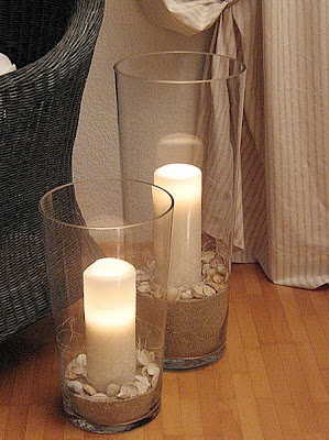 Big Glass Vases used as Hurricane Lamps