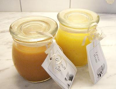 milk jam and lemon curd in nice jars