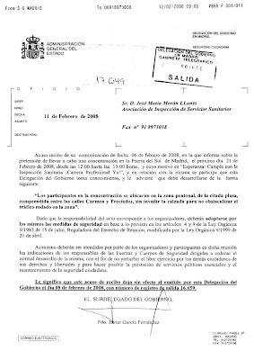 Imagen del fax de autorización de la Delegación del Gobierno. Hacer clic para aumentar