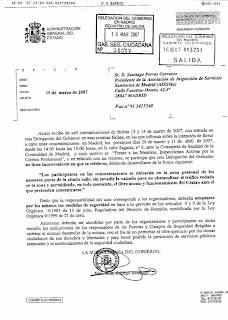 Documento de autorización de la Delegación del Gobierno en Madrid. Hacer clic para ver la imagen aumentada