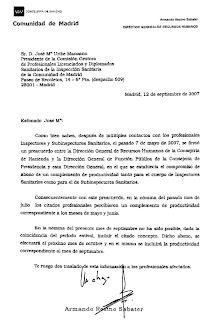 Escrito del DG RR HH, D. Armando Resino Sabater, del 12/09/07. Hacer clic, para ver a mayor tamaño.