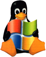 Tux hält Windowssymbol